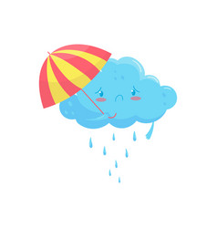 blue cloud with colorful umbrella and rain drops vector image