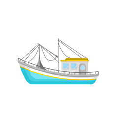 blue fishing trawler with net and ropes water vector image