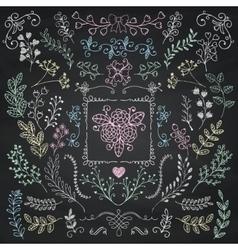 Board menu hand sketched rustic floral doodle vector