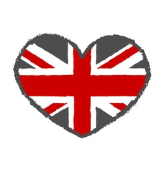 British flag typography graphics heart vector image