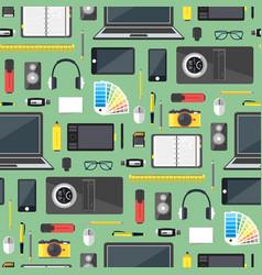 Cartoon designer workplace background pattern vector