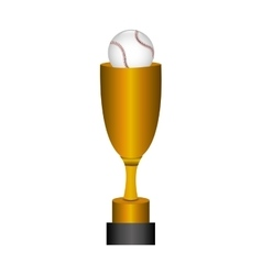 Cartoon trophy champion baseball icon vector