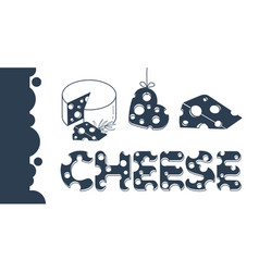 cheese icons flatbanner vector image
