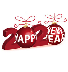 Christmas balls and 2020 new year gold greetings vector