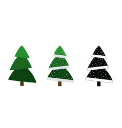 Christmas trees set colored and silhouette vector