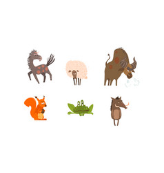 Collection funny farm and forest animals horse vector