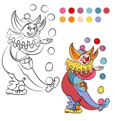 Coloring book with cheerful clown - vector image