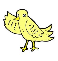 Comic cartoon waving bird vector