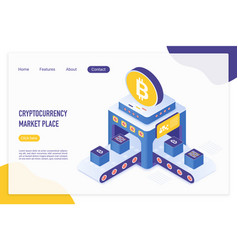 cryptocurrency market place landing page isometric vector image