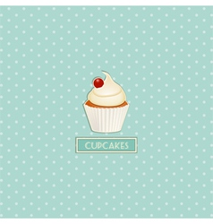 cupcake and polka dot background vector image