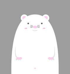 Cute big fat white mouse vector