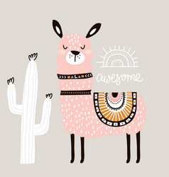 Cute cartoon llama with in tribal style childish vector