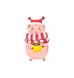 cute piggy holding cup with hot coffee isolated vector image