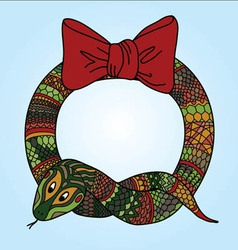 Cute snake wreath for Chinese New Year vector image