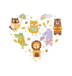 cute wild animals heart shape snail owl fox vector image