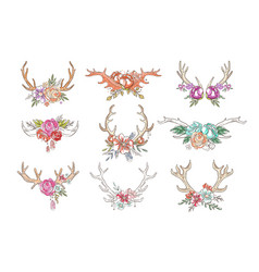 deer horns with flowers and plants set hand drawn vector image