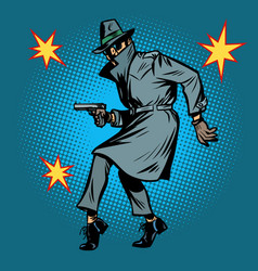 Detective spy man with gun pose vector
