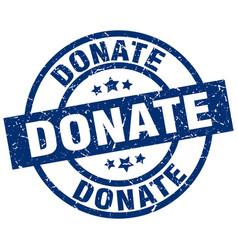 Donate blue round grunge stamp vector