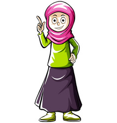 doodle human character for muslim girl vector image