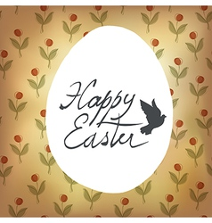 Easter retro cute card with spring flowers vector
