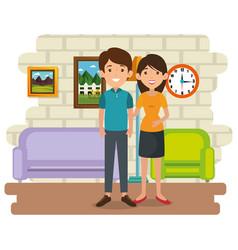 Family parents in living room scene vector