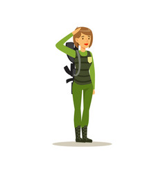 Female soldier character in camouflage combat vector