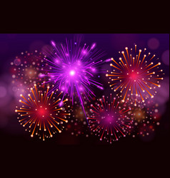 festive colorful fireworks on black background vector image