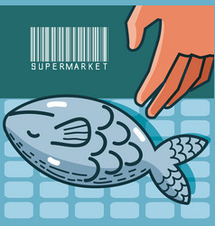 Fishes sea food super market products vector