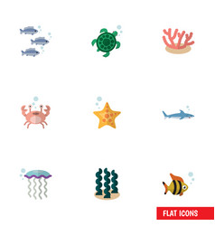 Flat icon nature set of sea star medusa cancer vector