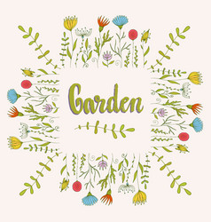 flowers decorative background floral frame with vector image