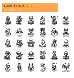 Game characters thin line and pixel perfect icons vector