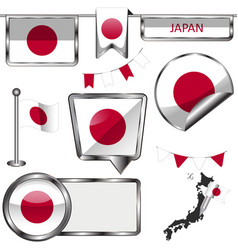 Glossy icons with flag of japan vector