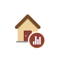 Graph of real estate prices growth icon vector