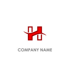 h initial wave logo vector image