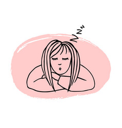 hand drawn sleeping girl vector image