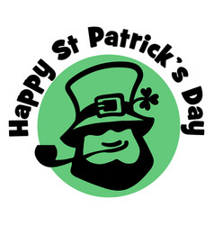 happy saint patrick s day logo leprechaun face vector image