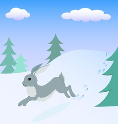 Hare running in the winter forest vector