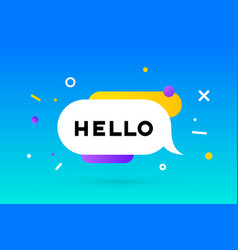 Hello banner speech bubble poster and sticker vector