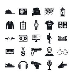 Hiphop rap swag music dance icons set simple vector