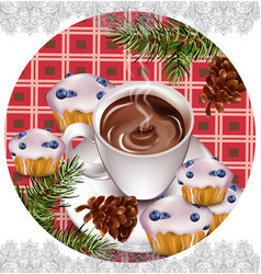 Hot chocolate and muffins on vintage background vector