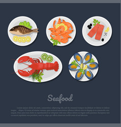 Icons of seafood on a plate in flat style vector
