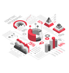 isometric geometric solid infographics vector image