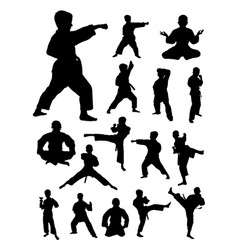 kids training karate detail silhouette vector image