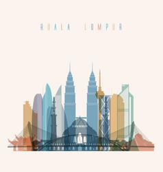 Kuala lumpur skyline detailed silhouette vector