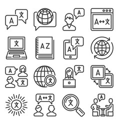 language translation icons set on white background vector image