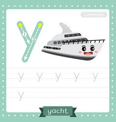Letter y lowercase tracing practice worksheet vector