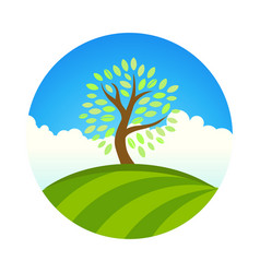 logo with landscape of eco garden or park tree vector image