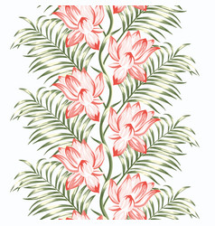 lotus flowers fern seamless pattern vector image