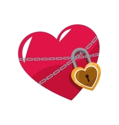 Love glossy heart pink lock chain vector