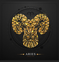 Magic witchcraft card with aries zodiac sign vector